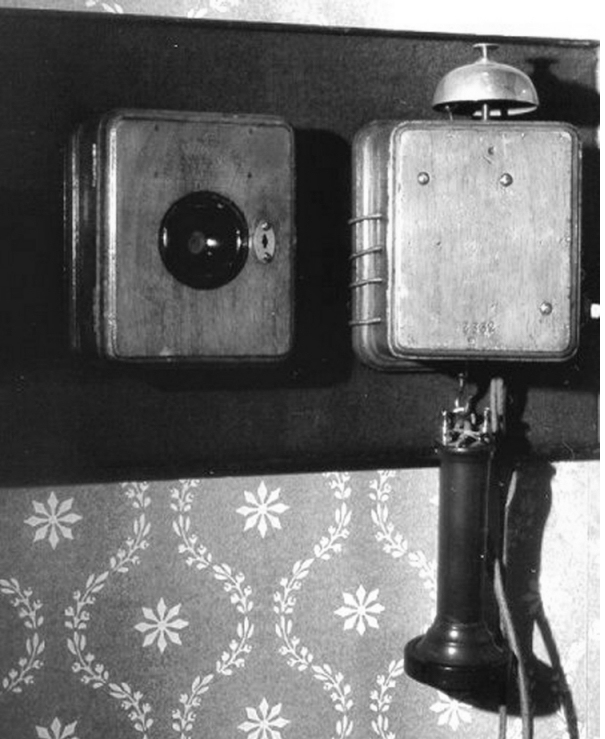 Blake transmitter for telephone.